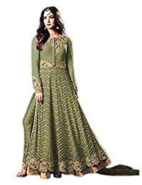 43bf8aad41 RANGE OF INDIA Women's Designer Indian Anarkali Suit Ethnic Green Gold  Embroidered Dress