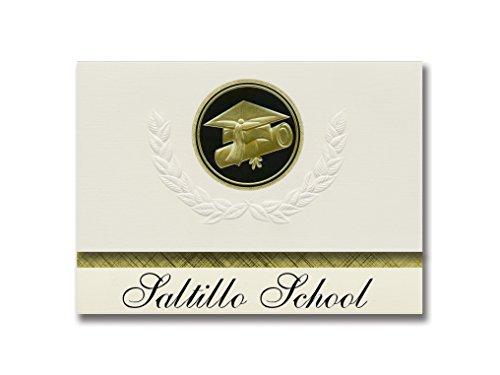 (Signature Announcements Saltillo School (Saltillo, TX) Graduation Announcements, Presidential style, Elite package of 25 Cap & Diploma Seal Black & Gold)