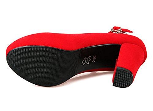 Easemax Strass Élégant Coupe Basse Plate-forme De La Cheville Sangle Haut Talon Pompes De Mariage Chaussures Rouge