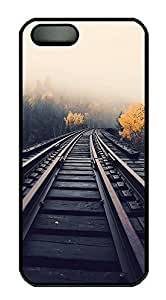 iPhone 5 5S Case Train Tracks In Fog759 PC Custom iPhone 5 5S Case Cover Black