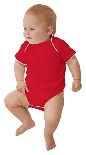 Rabbit Skins Infant Baby Rib Lap Shoulder Creeper, Red/White Picot, 6M