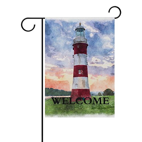 Famlal Welcome Ocean Nautical Lighthouse Pattern Polyester Garden Flag 12x18 Inches Double Sided Welcome Home House Polyester Banner Outdoor Patio Yard Garden Decorative