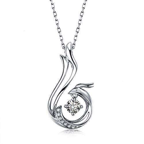 Asaa 925 Sterling Silver Nirvana of Phoenix Pendant Necklace Made with Swarovski Crystals Cubic Zirconia Pendant Gold Plated Love Heart for Women, 18