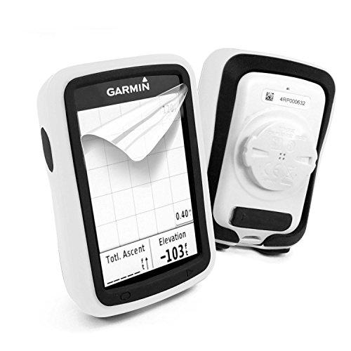 (Tuff-luv Silicone Twin Dual Layer Double Protective Skin Case for Garmin Edge 820 - White/Black)