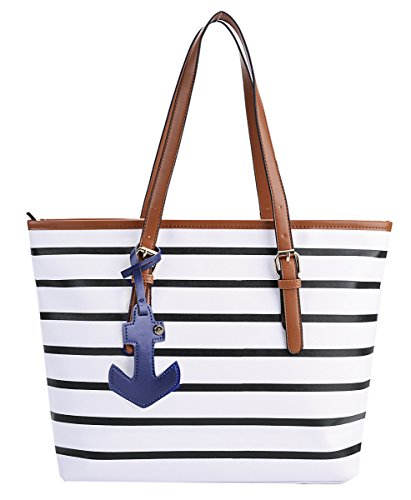 [Coofit Stripes Handbag Womens PU Leather Purse with Sea Anchor Pendant Black/...] (Stripe Shoulder Tote Bag)