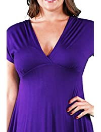 24seven Comfort Apparel Plus Size Ropa para mujer Cuello en V Imperio Maxi vestido - Hecho en EE. UU. - (Tallas 1XL-3XL)