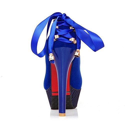AgooLar Damen Rund Zehe Mattglasbirne Rein Hoher Absatz Pumps Schuhe Blau