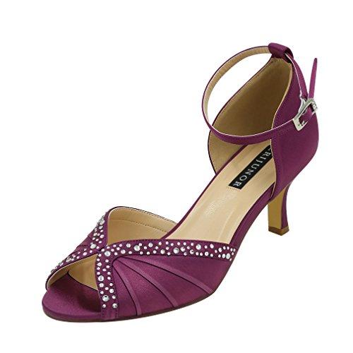ERIJUNOR E8805C Women Comfort Low Heel Ankle Strap Rhinestones Pleat Satin Wedding Evening Dress Dance Shoes Plum Size 8