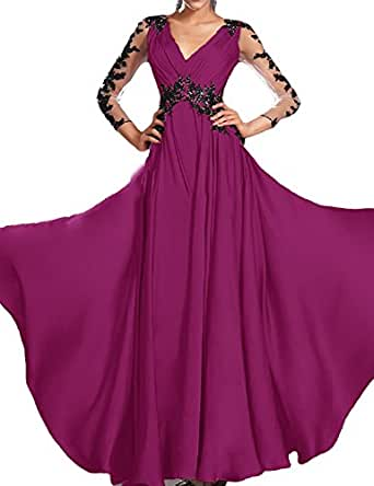 FTSOP Women's Beach Lace 3/4 Sleeve Backless Chiffon Western Wedding Dress For Bridal 2018 Fuchsia,18w