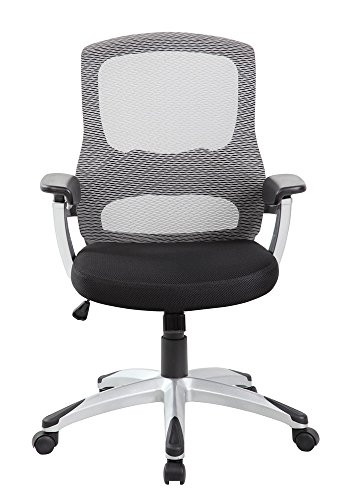 EuroStile Black and White Mid-Back Office Computer Task Mesh Chair 8097 Grey by Euro Style