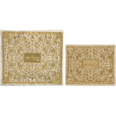 Yair Emanuel Tallit & Tefillin Bag for Jewish Prayer Shawl Set Full Embroidery Bag Gold (Bundle)