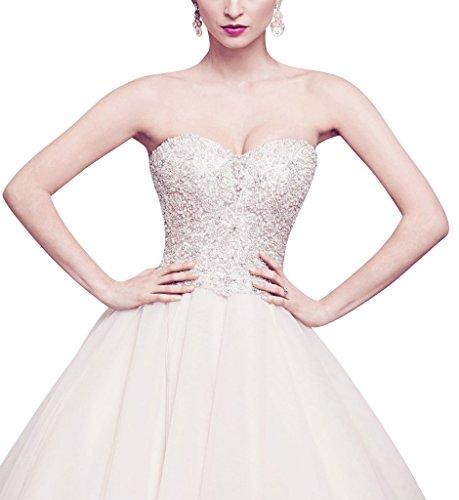 Dolcezza da cristallo A e abito sposa eleganti Avorio perline GEORGE line BRIDE tulle 54B8ZZ
