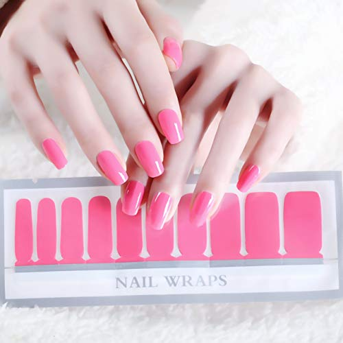(Color Lab 2019 Spring 22PCS ADHESION Nail Art Transfer Decals Sticker Orange and Pink Series DIY Nail Polish Strips,Nail Wraps, 100% Real Nail polish applique for Wedding, Party,A505 Jelly Pink)