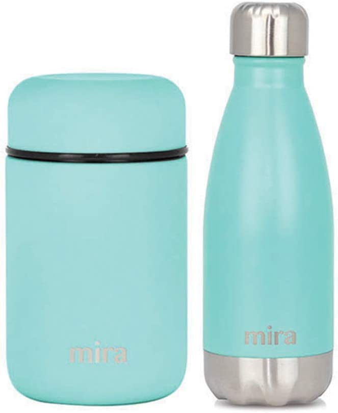 MIRA Child Lunch Bundle with 13.5oz Insulated Food Jar (Teal) and 12oz Insulated Cola Shaped Bottle (Teal)