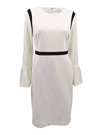 f977e74e Calvin Klein Womens Bell Sleeve Sheath with Piping CD7C11EV at Amazon  Women's Clothing store: