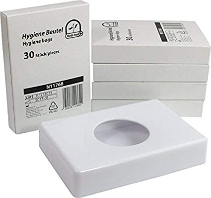 Dispensador de bolsas higiénicas en varios colores + 5 x 30 Bolsas Higiénicas Starterset de medi-inn - blanco+5x30Hygienebeutel