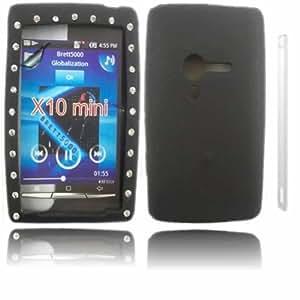 Diamante Silicona Caso Cubrir Concha Para Sony Ericsson Xperia X10 / Black