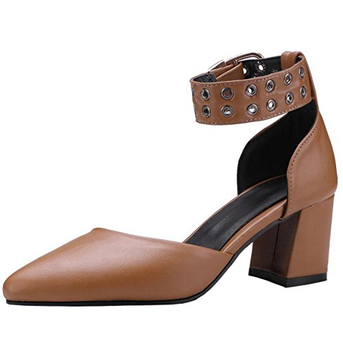 TAOFFEN Women Solid Closed Toe Sandals Brown