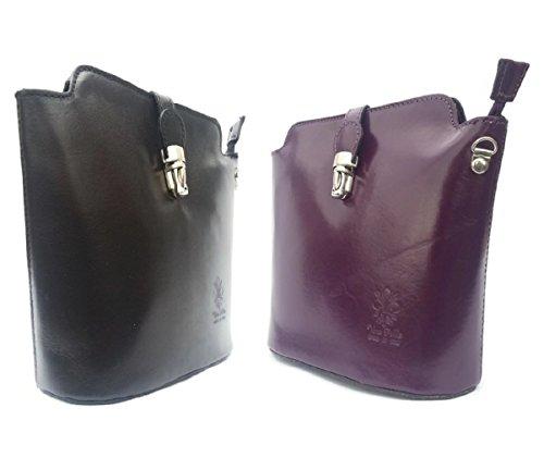 Vera Pelle , Damen Umhängetasche Schwarz violett violett