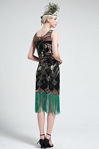 BABEYOND Vestito Abito Anni 20 Donna Vestito Gatsby Donne 1920s Abiti Flapper Dress Vestito da Sera Frange Gatsby Veatito con Paillette Impreziosito Senza Maniche (Nero, S/ UK8-10/ EU36-38)
