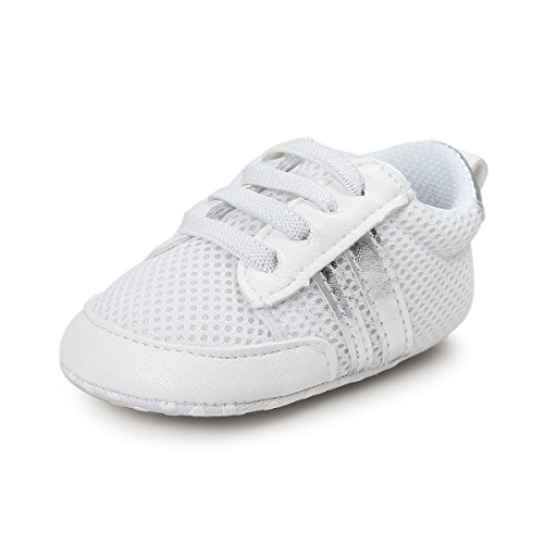 Unisex Baby Boys Girls Crib Shoes Soft Sole Non-Slip PU Moccasins Infant First Walkers (S:0-6 Months, A-Silver)