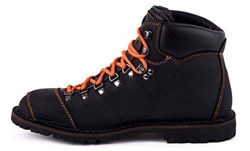 Biker Boot Adventure Denver Black, Stivali Da Donna Neri, Cuciture Arancioni