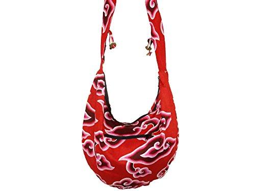 Borsa, motivo etnico Borsa bisaccia Ethnik Borsa in cotone con motivo a spirale, rosa, colore: rosso