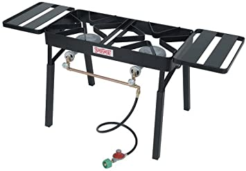 Bayou Classic DB350 Double Burner Outdoor Patio Stove With Slide On  Extension Legs And Two