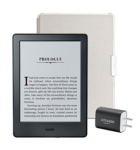 "Kindle Essentials Bundle including Kindle 6"" E-Reader, Black with Special Offers, Amazon Cover for Kindle – White, and Power Adapter"