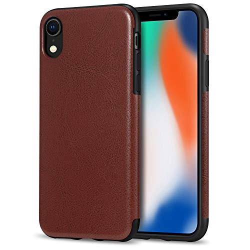 TENDLIN Compatible with iPhone XR Case Premium Leather Outside and Flexible TPU Silicone Hybrid Slim Case Compatible with iPhone XR - 2018 (Brown)