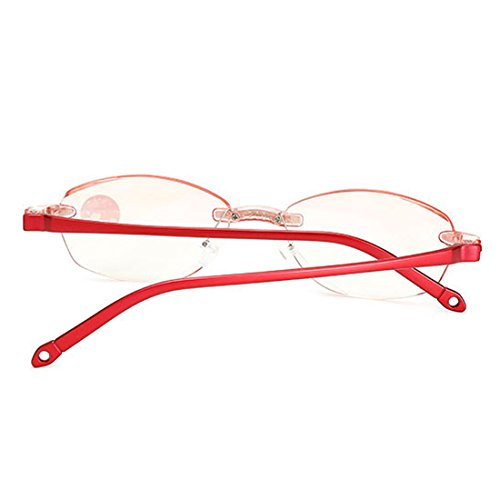 sin Readers para Marco para Mujer rojo Lectura Gafas de Ligeras Inlefen Fashion pSnAYY
