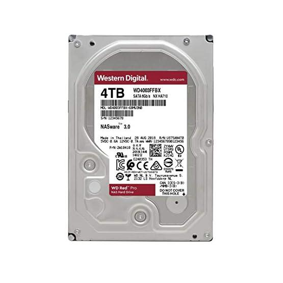 """WD Red Pro 4TB NAS Internal Hard Drive - 7200 RPM Class, SATA 6 Gb/s, CMR, 256 MB Cache, 3.5"""" - WD4003FFBX 41XNLcSbVVL. SS555"""