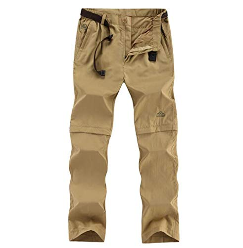 (6XL Removable Quick Dry Waterproof Summer Outdoor Sport Pant Men Travel Camping Fishing Hiking Plus Size Trouser Khaki 4XL)