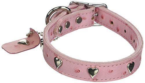 OmniPet Faux Ostrich Signature Leather Dog Collar with Heart Ornaments, Pink, 16