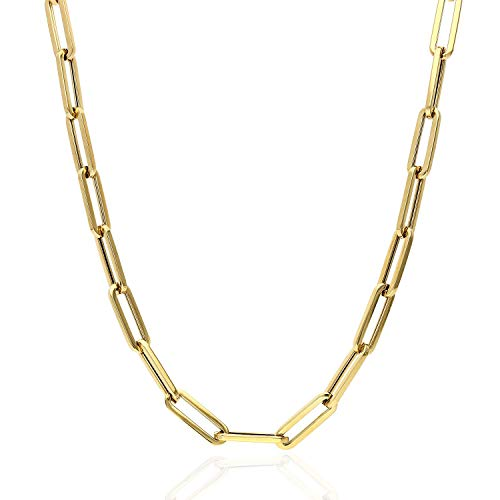 """14K Yellow Gold 5mm Paperclip Elongated Link Chain Necklace 16"""" - 30"""""""