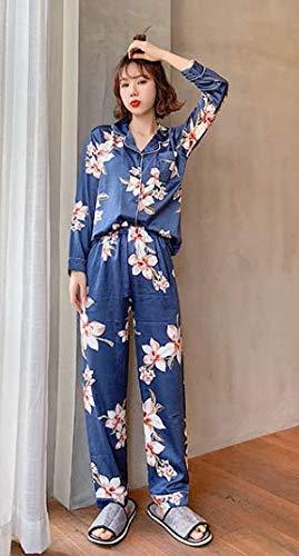 Ahsxl De Dormir Traje Seda Ropa Niña Mujer Larga Para Camisón Manga Estampado L Xxl Conjunto Con Pijama qAwqI7r