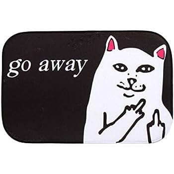 HBOS Short Plush Material Angry White Cat Go Away Printed Doormat Funny  Non Slip Door