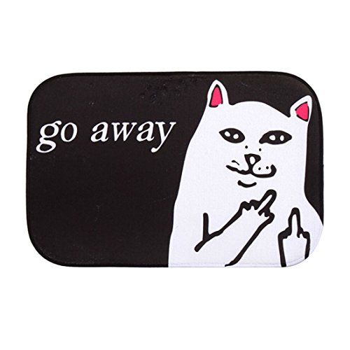 Hsu Cat (HBOS Short Plush Material Angry White Cat Go Away Printed Doormat Funny Non-slip Door Mats 15.7 by 23.6 Inch)