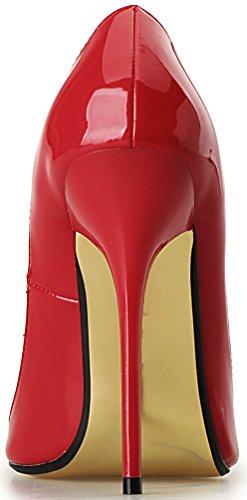 Abby A26 Donna Sexy Cena Tacco Alto Discoteca Partito Croce Medicazione Plus Size Us9-18 Scarpe A Punta Pu Stiletto Pompe Rosso