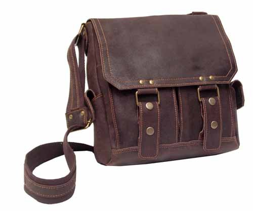 David King Letter - David King & Co. Leather Vertical Letter Size Messenger Distressed, Cafe, One Size