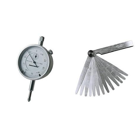 Silverline 196521 - Reloj comparador métrico (0, 10 mm) + 793828 - Galga