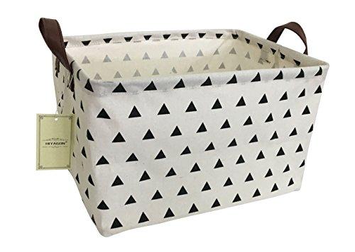HIYAGON Rectangular Storage Box Basket for Baby, Kids or Pets – Fabric Collapsible Storage Bin for Organizing Toys,Nursery Basket,Clothing,Books, Gift Baskets (Triangle)