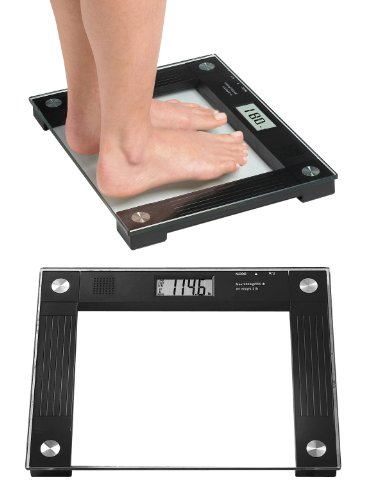 Ideaworks JB5824 Extra Wide Talking Scale-Visual & Voice Display Scale- 550 Pounds Max-Tamper Glass-Extra Wide Width-Large LCD Display-Tap On & Off Auto Function by IdeaWorks