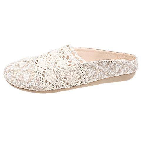 ◕‿◕Water◕‿◕ Women's Slipper,Women Non-Slip Breathable Comfortable Flats Linen Ethnic Style Casual Shoe Light Slippers Beige ()