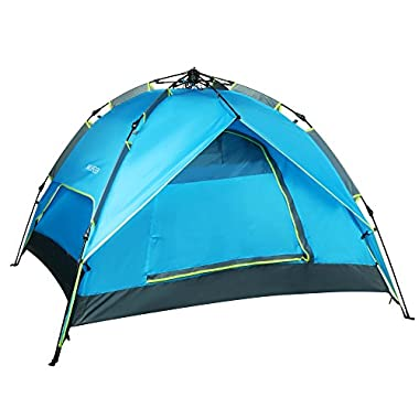 Ancheer Blue 3 In 1 Design Double Layers 3-4 Person Quick Pop Up Buckle Waterproof Camping Hiking Portable Tent
