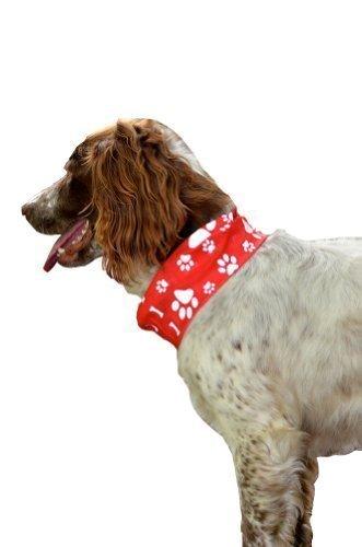 Ruffnek Halstuch für Hunde, reflektierend, gut sichtbar, mit Tatzen-Knochen-Abdruck, Rot