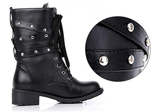 Womens Black Rivet Adjustable Buckle Lace-up Combat Thick Heel Ankle Riding Boots Black m8I2sfpU