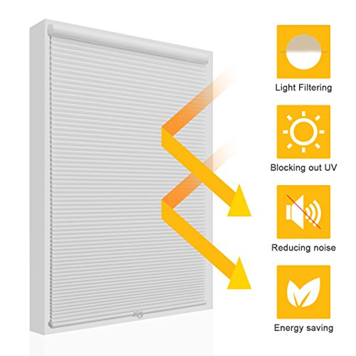 Cordless Light Filtering Cellular Shades Blinds Single Cell Shades for Windows, 35' by 64',...