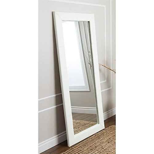 Contemporary Ivory Leather Floor Mirror. This Decorative Large Full Length Mirror Will Enhance Any Living Area At Home or Office. 30