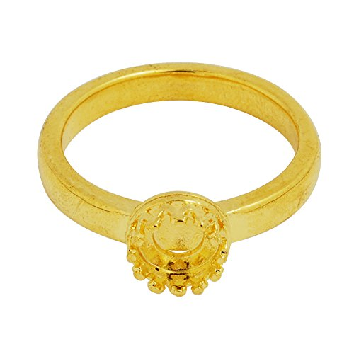 5PCS crown cup ring with 6mm blank base, ring bezel (18k Mounting)